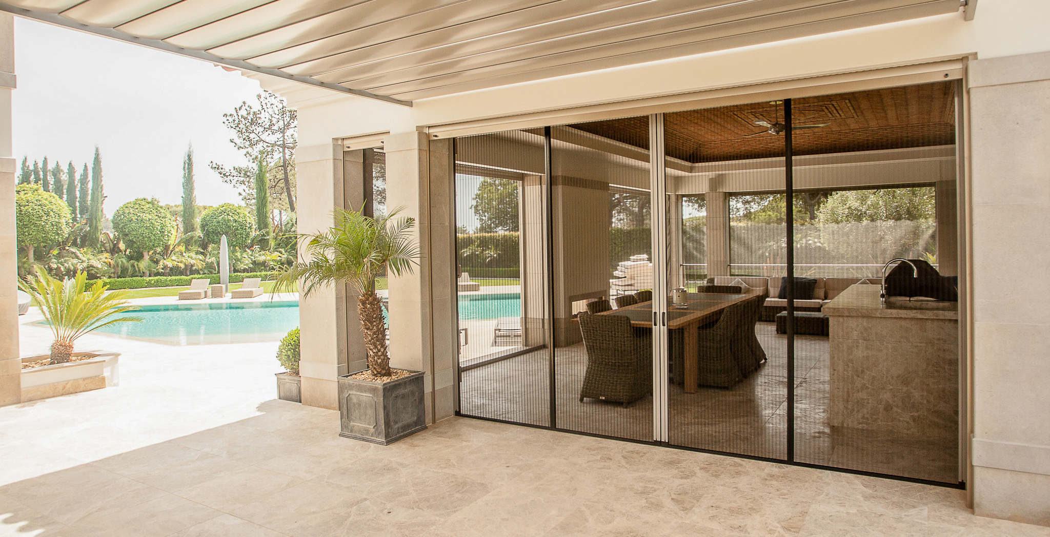 Algarve's specialist fly screen supplier, installer and distributor. Discreet, retractable, pleated mosquito screens to enhance the comfort of your home.
